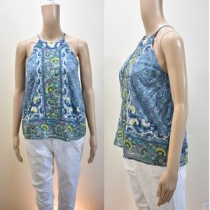 Anthropologie Flower Print & Embroidery Tank Top